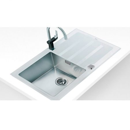 Lux 1B 1D 86 White Inset Stainless Steel and Glass Sink   TEKA