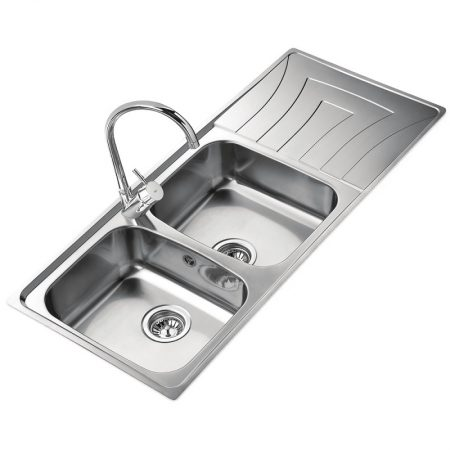 Inset Stainless Steel Sink with two bowls and one drainer (116 X 50)CM