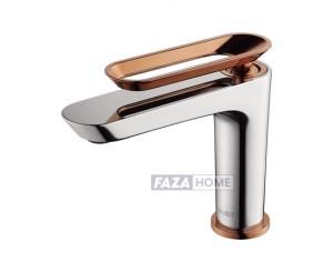 Milano Yaz Basin Mixer Chrm/rose Gold -